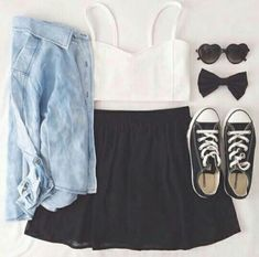 Teen fashion: jean shirt, white crop top, black high waisted shirt with converse