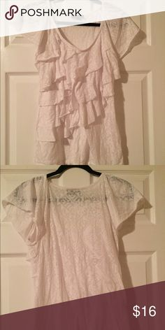 AB Studio White Ruffle Blouse Size L AB Studio White Ruffle Blouse Size L  Ruffles are unfinished Some sheerness Minor piling under arms AB Studio Tops Blouses