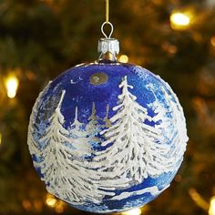 European Glass Relief Trees Ornament - Blue | Pier 1 Imports
