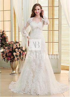 Elegant Tulle V-neck Neckline Mermaid Wedding Dresses With Beaded Lace Appliques