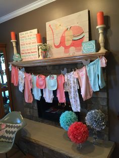 Baby shower, mantel decorations, coral and mint, clothes line, bird, sweet, cute, adorable