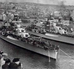 A picture of three Italian heavy cruisers Zara Pola and fiume all 3 were sunk in night time action with the 3 British battleships HMS warspite, HMS barham HMS Malaya the battle of cape Matapan