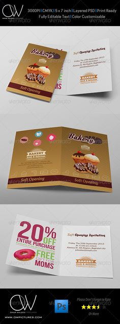 Bakery Soft Opening Invitation Card Template — Photoshop PSD #restaurants #shops • Available here → https://graphicriver.net/item/bakery-soft-opening-invitation-card-template/7574394?ref=pxcr