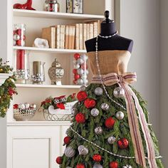 Try on something new this holiday season with an elegant evergreen Christmas tree dress in your home. Christmas Tree Dress, How To Make Christmas Tree, Christmas Crafts, Christmas Decorations, Holiday Decor, Xmas Trees, Tree Branches, Paper Flowers, Garland