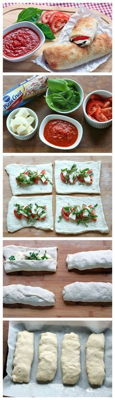 Caprese Calzones With just 5 ingredients and less than 10 minutes of prep, you'll be devouring these calzones in no time! Change dough<br> With just 5 ingredients and less than 10 minutes of prep, you'll be devouring these calzones in no time! I Love Food, Good Food, Yummy Food, Tasty, Yummy Lunch, Vegetarian Recipes, Cooking Recipes, Healthy Recipes, Pizza Recipes