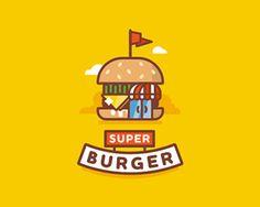 Superburger / Burger Cafe designed by Dmitry Stolz. Connect with them on Dribbble; Logo Design Inspiration, Icon Design, Origami Logo, Food Poster Design, Affinity Designer, Line Illustration, Cute Icons, Identity Design, Brand Identity
