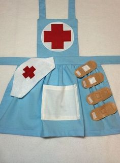 Let your child step back in time with this vintage looking nurse apron! From a birthday party, to Halloween to everyday creative play, this nurse apron will fit your needs. Your child will love dressing up and playing nurse and you will love how adorable Child Nursing, Nursing Clothes, Nursing Dress, Sewing For Kids, Diy For Kids, Dress Up Aprons, Dress Up Clothes, Sewing Crafts, Sewing Projects