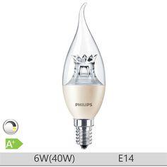 Bec LED Philips 6W E14, forma lumanare BA38, lumina calda http://www.etbm.ro/tag/149/becuri-led-e14