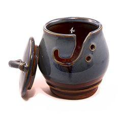 Darn Good Yarn Handcrafted Ceramic Knitting Yarn Bowl, Decorative Blue Agate Design with Lid, 5 x Inches Yarn Storage, Craft Storage, Ceramic Decor, Ceramic Bowls, Crochet Yarn, Knitting Yarn, Fall Gifts, Bowl Designs, Yarn Bowl