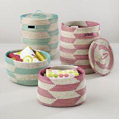 Kind of love the pink one for bathroom.  Kids Storage: Snake Charmer Storage Baskets in Floor Storage