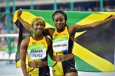 This is #TeamJamaica! From all of us, it's one love going out to Elaine Thompson and Shelly-Ann Fraser-Pryce after tonight's 100m final. Congratulations to all our runners tonight!