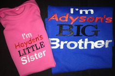 Embroidered Sibling Shirts for boys & girls on Etsy, $40.00
