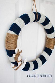 Last Trending Get all images diy nautical home decor Viral diy wreath nautical decor Nautical Wreath, Nautical Party, Nautical Home, Nautical Anchor, Nautical Baptism, Anchor Wreath, Nautical Christmas, White Wreath, Diy Wreath