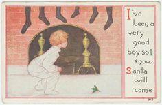 Buscando a Santa Claus en la chimenea