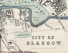 1862 Rare Hand-Coloured Antique City Map of Glasgow, Scotland