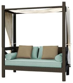 Hampton Outdoor Canopy Day Lounger, Chocolate Wicker and Spa Cushions - modern - outdoor sofas - by PatioProductions