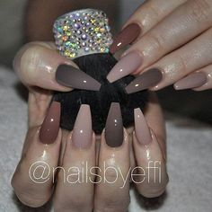 """If you're unfamiliar with nail trends and you hear the words """"coffin nails,"""" what comes to mind? It's not nails with coffins drawn on them. Although, that would be a cute look for Halloween. It's long nails with a square tip, and the look has. Gorgeous Nails, Pretty Nails, Mauve Nails, Neutral Nails, Nail Polish, Nail Nail, Nail Glue, Ballerina Nails, Hot Nails"""