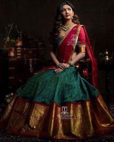 Half saree lehenga - whats app orMail tejasarees Lehenga Saree Design, Half Saree Lehenga, Lehnga Dress, Bridal Lehenga Choli, Lehenga Designs, Saree Blouse Designs, Saree Wedding, Kids Lehenga, Lehenga Dupatta