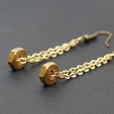 Hardware & Chain Earrings- Brass Upcycled Hex Nut Earrings, Hardware Jewelry, Hardware Earrings, Industrial Jewelry, Long Earrings by Tanith Industrial Jewelry, Metal Jewelry, Beaded Jewelry, Hex Nut Jewelry, Industrial Metal, Jewellery, Trendy Jewelry, Jewelry Accessories, Jewelry Design