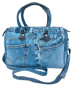 BDJ Unique Large Blue Denim Doctor Style Top Handle Shoulder Handbag BL070