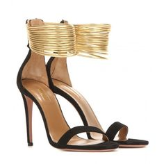 Aquazzura Spin Me Around 105 Suede and Metallic Leather Sandals (2.280 BRL) ❤ liked on Polyvore featuring shoes, sandals, black, black shoes, genuine leather shoes, metallic leather shoes, black sandals and kohl shoes