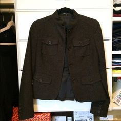Theory Military Jacket Tweed brown military inspired jacket! In great condition! Super stylish and great for an office outfit or paired with jeans! Contains 4 front pockets. Open to reasonable offers through feature! Theory Jackets & Coats