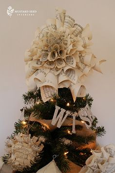 Sheet music Christmas Tree Topper and  Ornaments