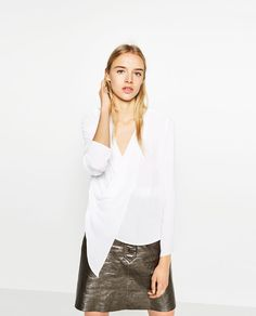 Image 2 of DRAPED CROSSOVER BLOUSE from Zara
