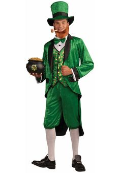 Leprechaun Adult Costume The name Leprechaun is derived from two words that mean shoemaker and pygmy. According to folklore, Leprechauns are skilled shoema St Patrick's Day Costumes, Funny Costumes, Halloween Costumes For Kids, Adult Costumes, Six Nations Rugby, Leprechaun Costume, Vest And Tie, Green Hats, Costume Shop