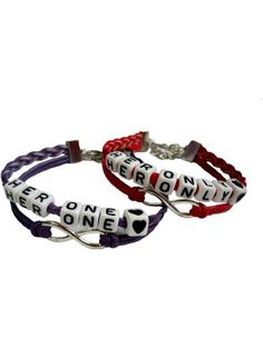 Lesbian Couple Bracelet Set of Two Her Only and Her One Bracelets Red and Purple Lovers Bracelets ❤ Joyplancraft