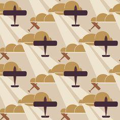 Retro Wallpaper | Old Gold Aeroplane | Bradbury & Bradbury