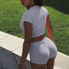 Fashion Solid Color Tight Short Sleeve Shirt Shorts Set Two-Piece