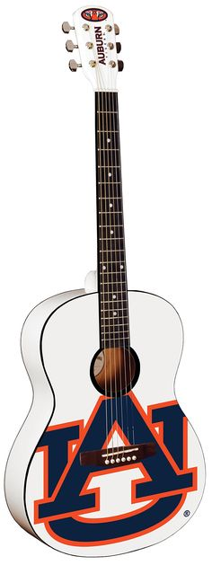 College Guitar CG-AU#1 Auburn University Acoustic Guitar. Officially Licensed College Product. Steel Strings Spruce Top Rosewood Bridge. Fully adjustable display hanger included. Covered Chrome Tuning Machines. Adjustable Truss rod.