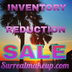 Huge inventory reduction sale! Shop now at www.surrealmakeup.com for half off over 70 colors!