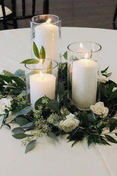 Wedding Ceremony Ideas, Romantic Wedding Centerpieces, Candle Centerpieces, Wedding Flower Arrangements, Centerpiece Flowers, Wedding Church, Centerpiece Ideas, Pillar Candles, Eucalyptus Centerpiece