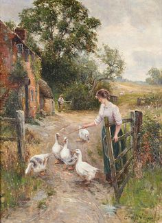 Tending the Geese ~ Ernest Walbourn ~ (English: 1872-1927)
