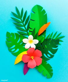Paper Flowers SVG Digital Leaf Template 9 Cricut and Moana Birthday Party, Hawaiian Birthday, Hawaiian Theme, Luau Party, Leaf Template, Flower Template, Diy Paper, Paper Crafts, Diy Crafts