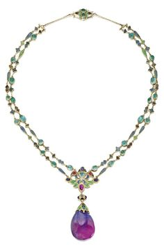 Gold, Enamel and Coloured Stone Pendant-Necklace, Louis Comfort Tiffany, Tiffany & Co., 1914-1927. Probably designed by Louis Comfort Tiffany, the double-chain of small fancy-shaped links applied with champlevé enamel in shades of blue, green and plum, spaced at intervals by cabochon emeralds, the centre decorated with a large floral link similarly enamelled and set with cabochon sapphires, rubies and an emerald, supporting an unusual blue and plum coloured sapphire drop, signed Tiffany…