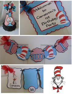 Dr. Seuss 1st Birthday Petite Party Package by ASweetCelebration