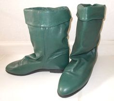 CANADE GREEN LEATHER FLANNEL LINED MID-CALF BOOTS VINTAGE 1970-80'S SIZE 9.5 M #CANADIANMADELABEL #Slouch