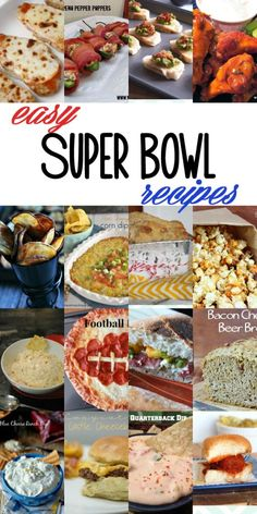 Easy Super Bowl Recipe Ideas.  20-ish easy recipes to make your Super Bowl party (or any party) a hit!  Dips, appetizers and more!  #recipes #superbowl #partyfood