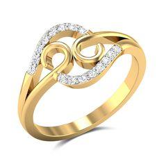 A La Modep Diamond Studded Gold Ring