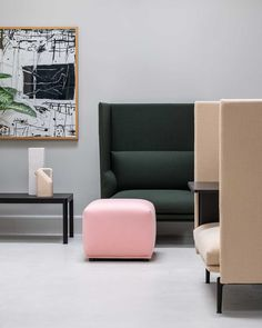 The Echo Pouf has a simple, friendly expression that brings comfort and function to any space alongside its light and almost hovering expression through its small legs underneath. The name of the Echo Pouf refers to how the design can be used in symmetric formations or clusters with various sizes and upholsteries, creating visual echoes throughout the space.