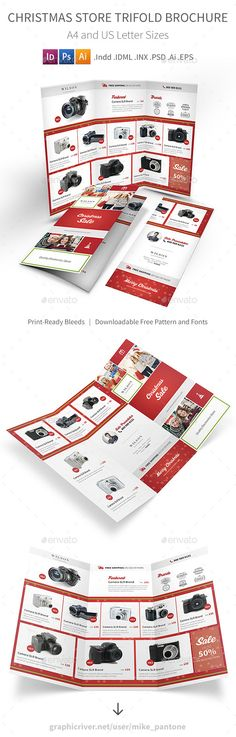 Christmas Store Trifold Brochure — Photoshop PSD #sale #noel • Download ➝ https://graphicriver.net/item/christmas-store-trifold-brochure/18840071?ref=pxcr