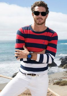 Nautica Spring Summer 2015   I like the way the shirt crosses from red to white.