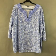 Carole Little Woman Blue & White Paisley Y-Neck Linen Blend Shirt - Size 2X #CaroleLittle #KnitTop #Casual