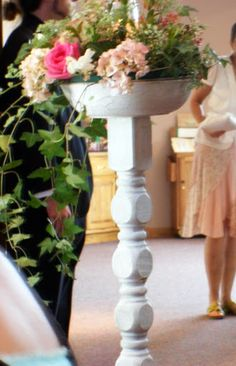 Weddings by Refuge Events - Marietta - Picasa Web Albums Pedestal bowls full of flowers line the aisle shabby chic, chippy