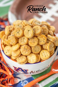 Cheesy Ranch Crackers - ritz bits tossed in a quick ranch mixture. Great for parties and in soups and chilis. We always have a bag in the pantry. Ranch Crackers, Oyster Crackers, Ritz Crackers, Chicken Appetizers, Appetizer Recipes, Snack Recipes, Cooking Recipes, Easy Recipes, Cold Appetizers