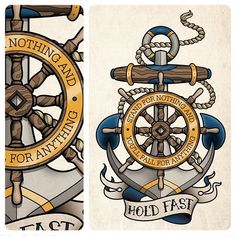 Sam Phillips Illustration — This is an anchor and ship wheel tattoo design I. Tattoos 3d, Navy Tattoos, Sailor Tattoos, Shark Tattoos, Anchor Tattoos, Trendy Tattoos, Body Art Tattoos, Nautical Tattoos, White Tattoos