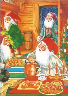 Swedish Christmas, Scandinavian Christmas, Christmas Elf, Christmas Crafts, Illustration Noel, Illustrations, Gnome Pictures, Asatru, Flower Fairies